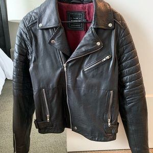 TOPMAN MENS LEATHER MOTO JACKET SIZE SMALL